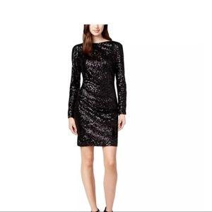 Vince Camuto Black Cowl-back Sequin Dress Black